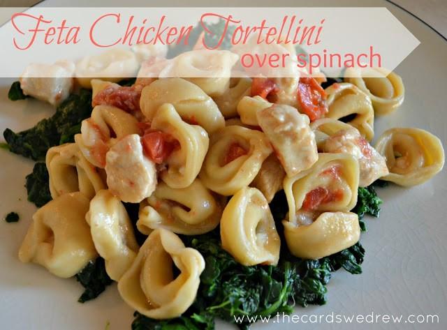 Feta Chicken Tortellini over Spinach