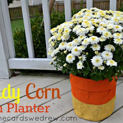 Candy Corn Mum Planter