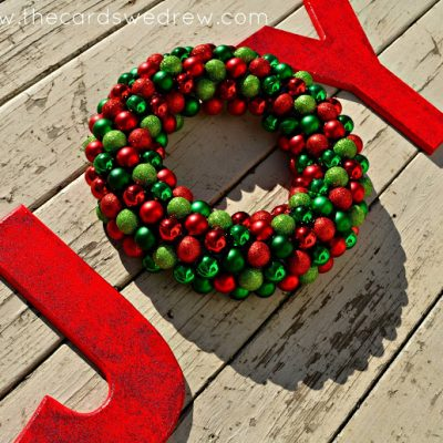 JOY ornament wreath and sign