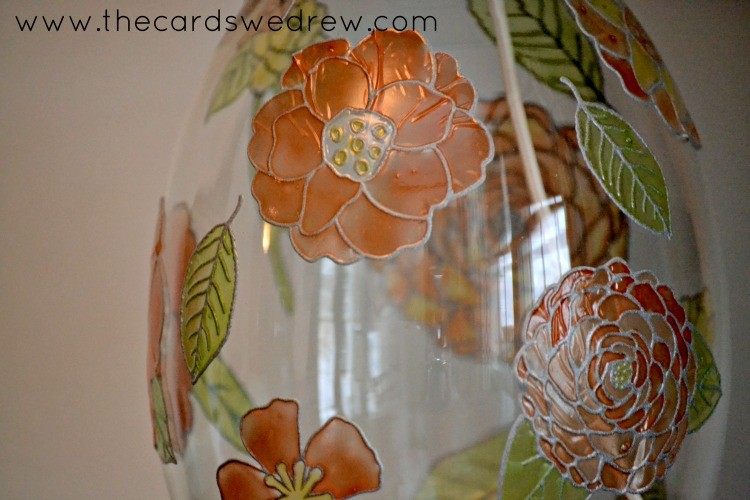 paintable flowers on lamp