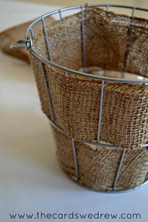 barlap wrapped wire basket