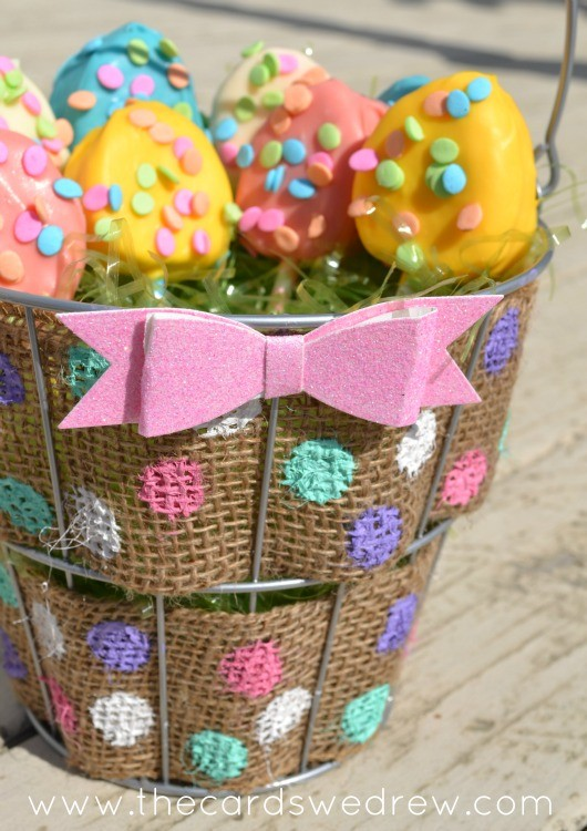 burlap bow easter basket