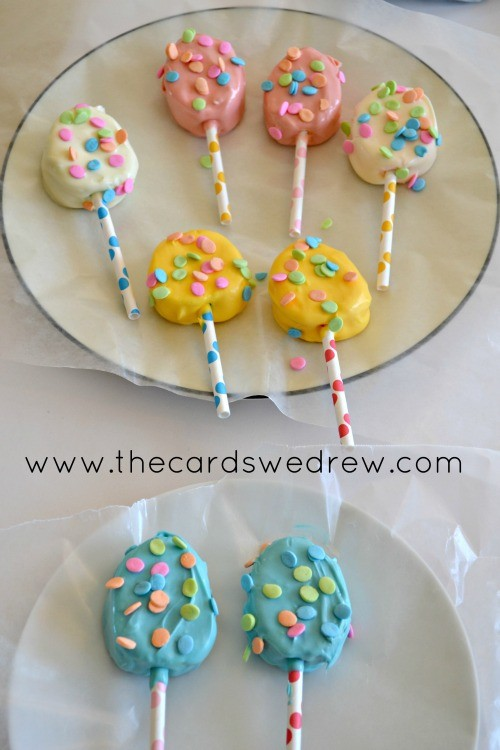 marshmallow eggs on straws