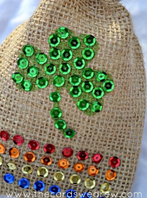 rainbow shamrock st pats treat bag
