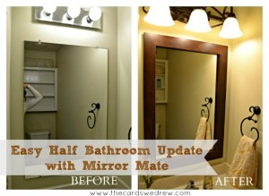 half bathroom makeover from the cards we drew using mirrormate frames and giveaway