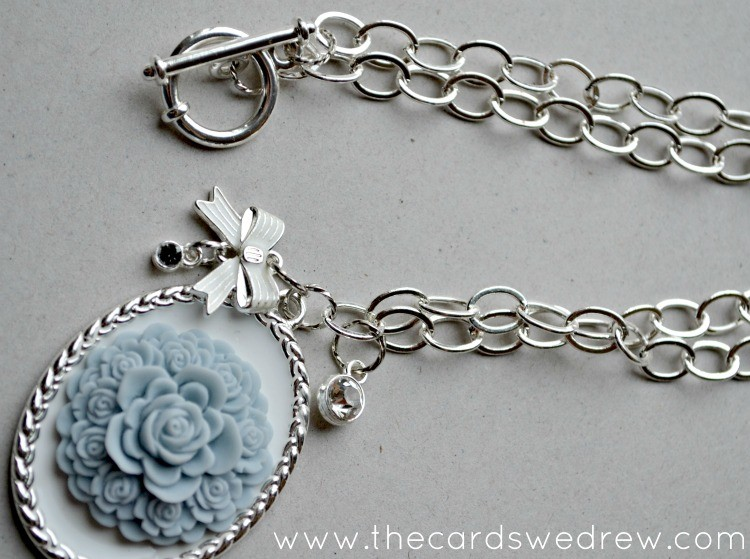DIY Grey, White and Silver pendant necklace