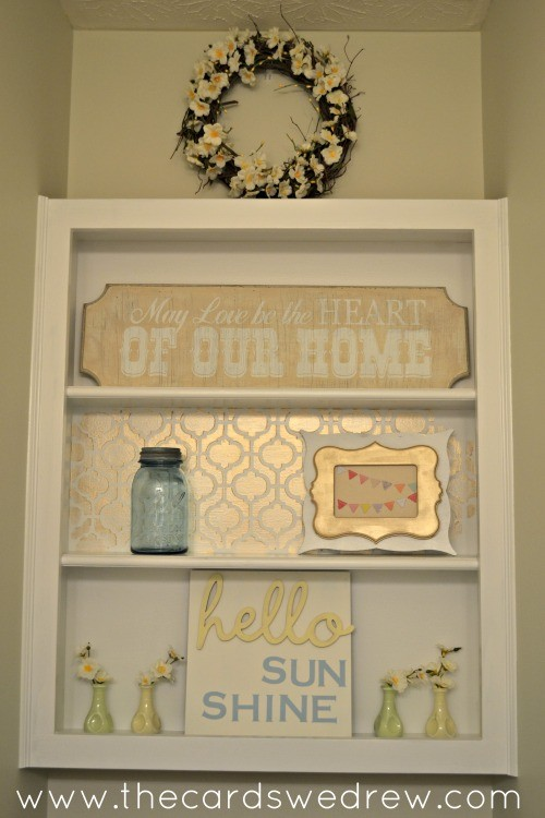 bathroom shelf makeover