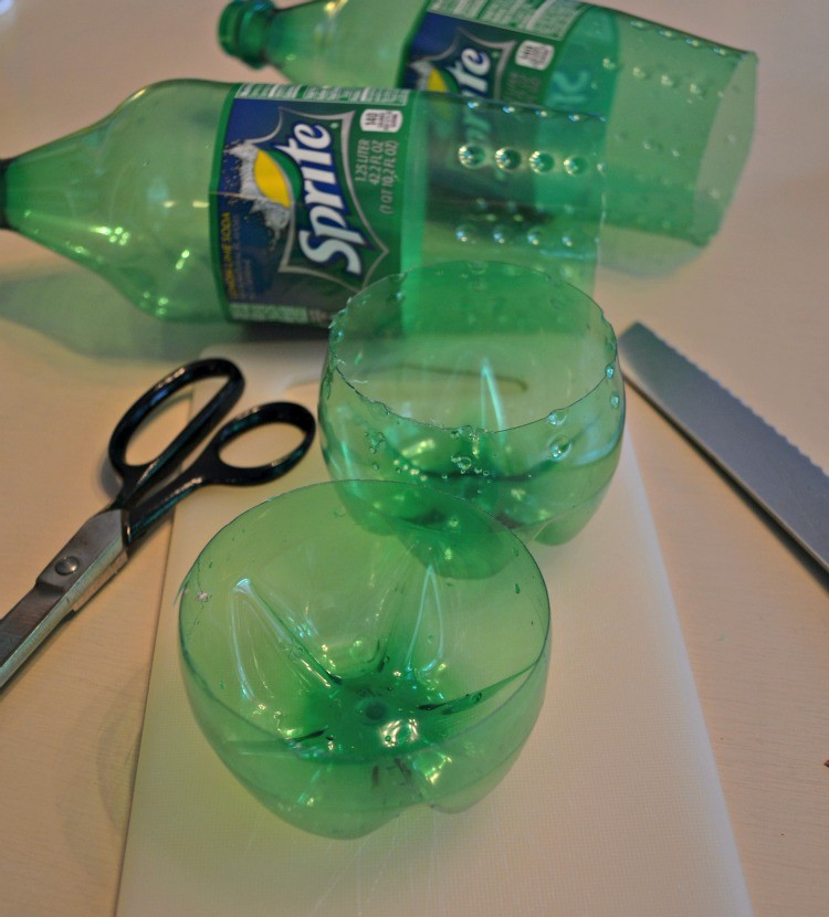 cut sprite bottles at the bottom