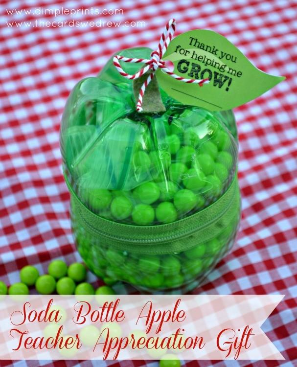 soda bottle apple teacher appreciation gift idea and free print