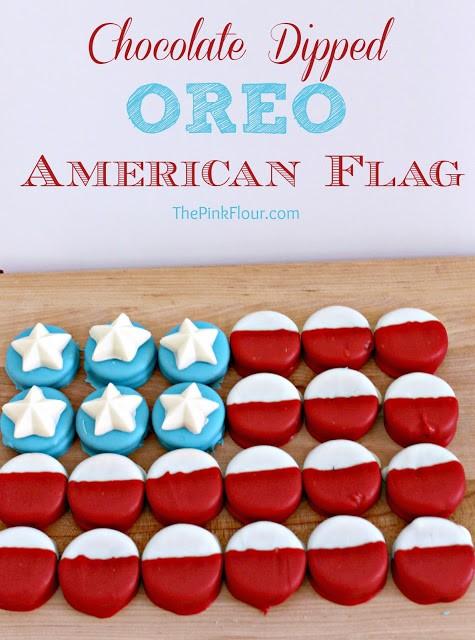 Chocolate Dipped Oreo American Flag