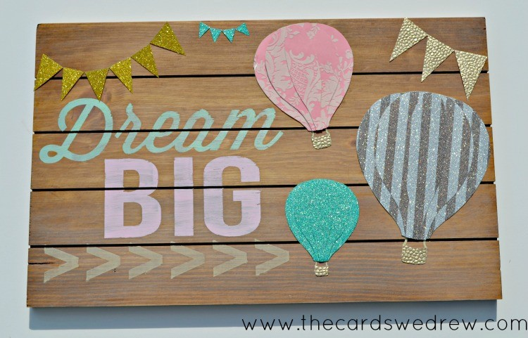Dream Big Hot Air Balloon Sign with Bunting