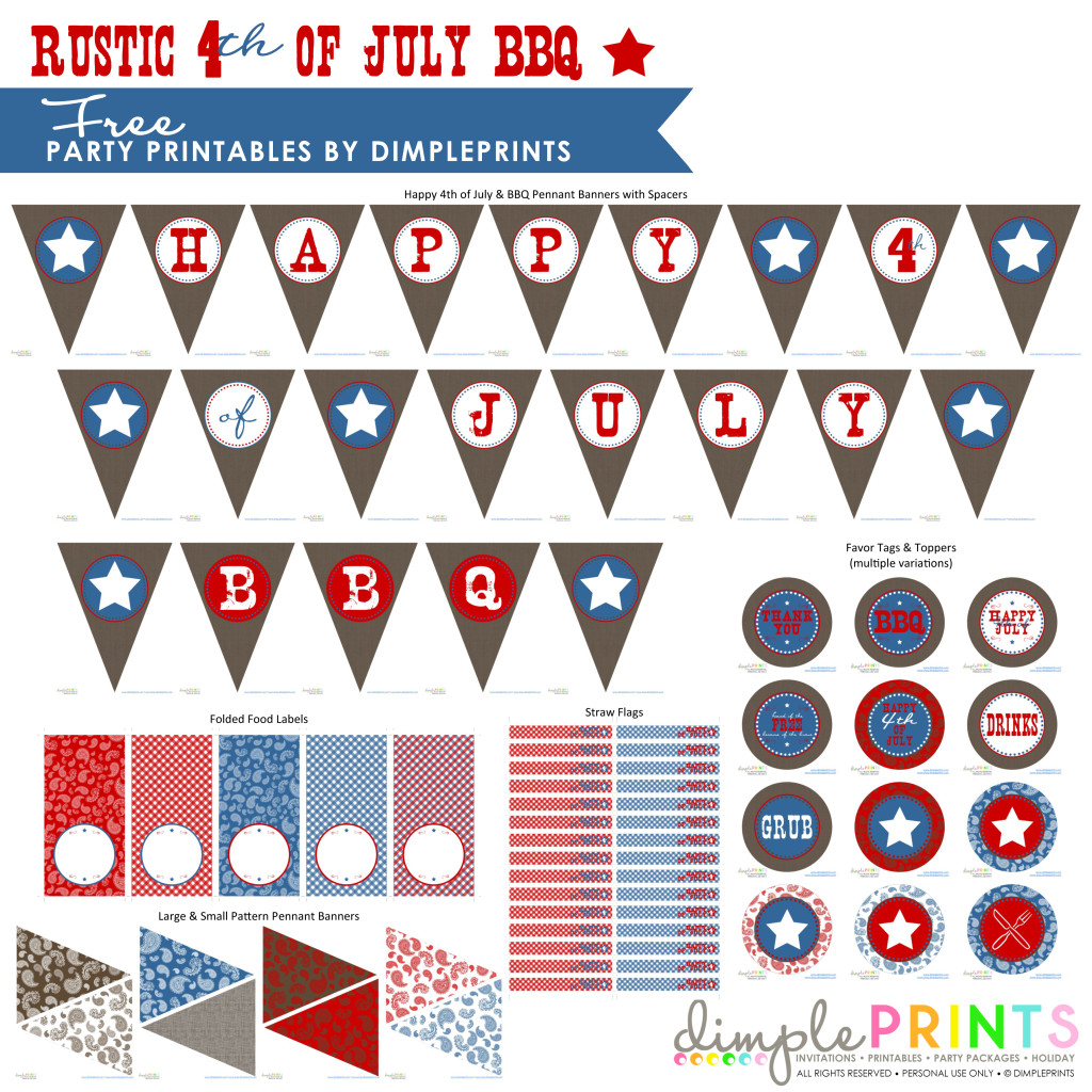 Rustic 4th July BBQ Free Printable Party by DimplePrints-1