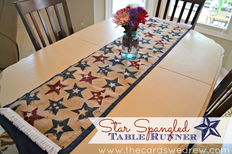 Star Spangled Burlap Table Runner from The Cards We Drew