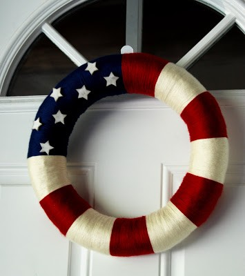 patriotic yarn wreath