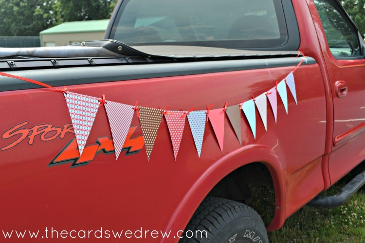 pennant bunting on side of truck