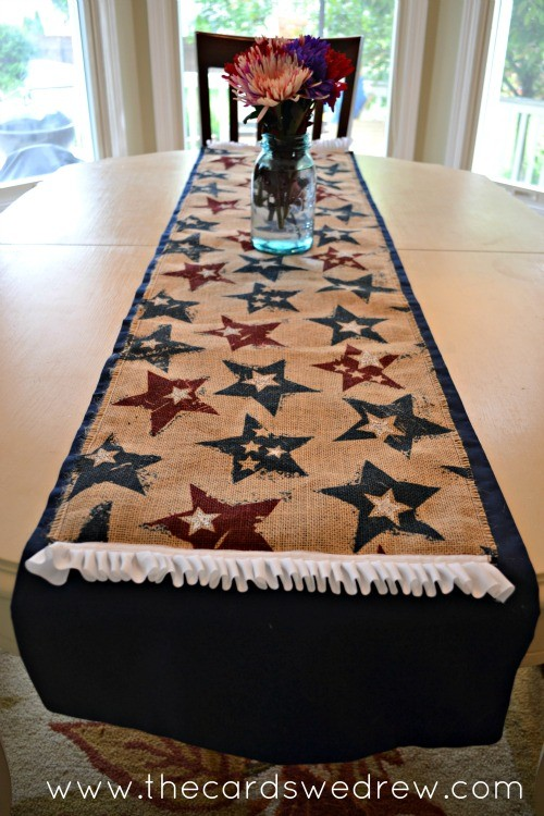 star spangled burlap table runner on kitchen table