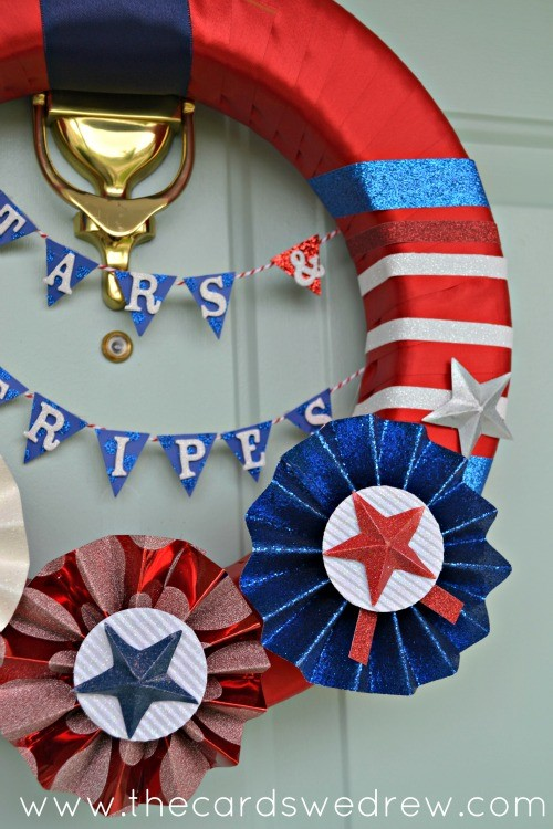 stars and stripes wreath close up