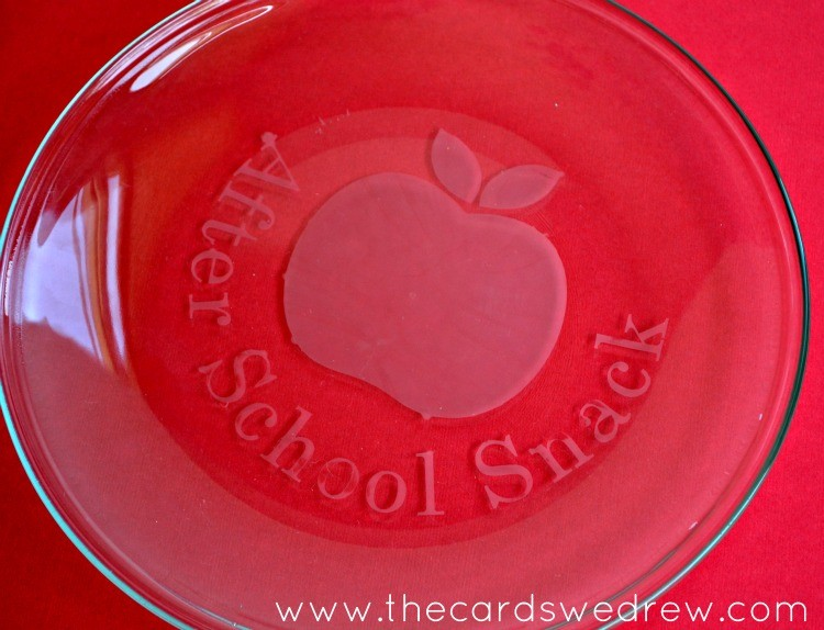 etched glass after school snack plate
