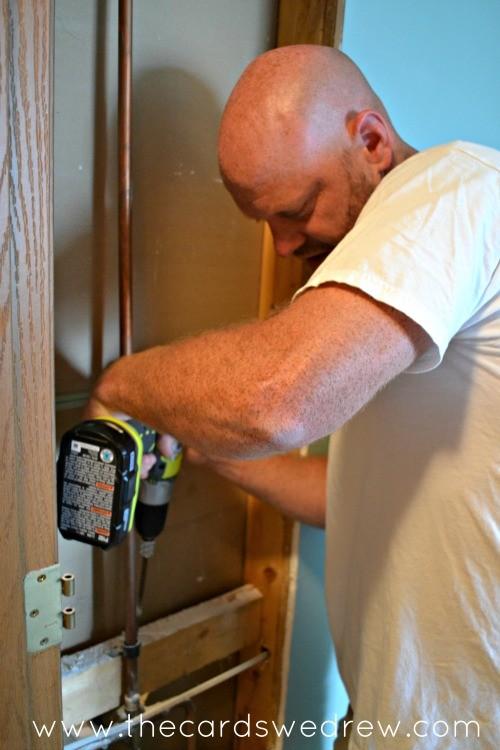 installing plumbing using ryobi drill