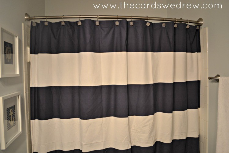 Natural Linen Shower Curtain Navy Blue and Yellow Showe