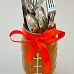 Mason Jar Football Cutlery Holder- Football Tailgating Ideas