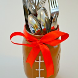 Mason Jar Football Cutlery Holder