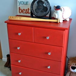 Finished red chalk paint dresser from The Cards We Drew