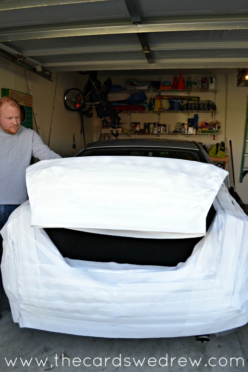 Wrap the bottom of the car with toilet paper