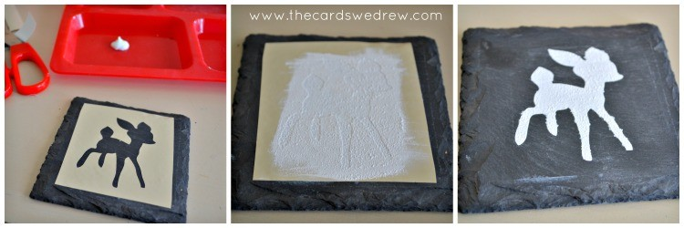 Stenciling Rudolph coasters
