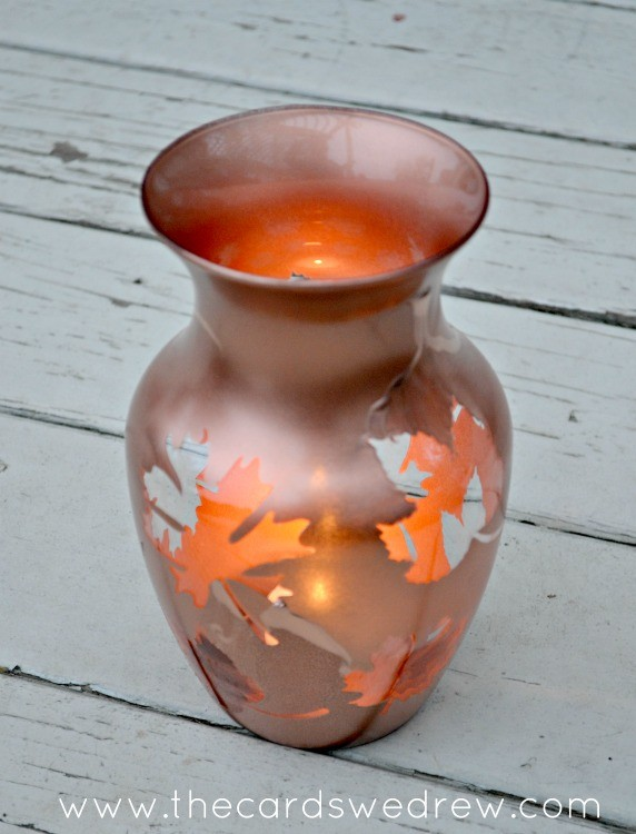 copper leaf thanksgiving vase