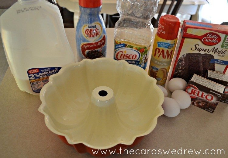 ingredients for chocolate peppermint bundt cake