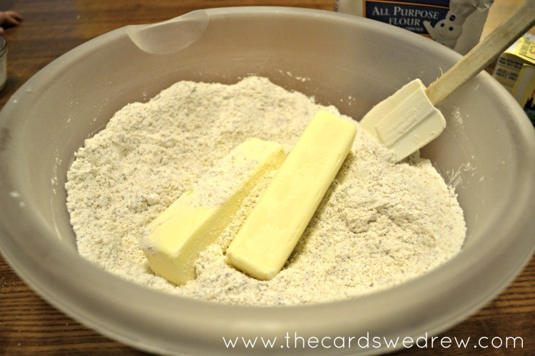put cold Land O' Lakes butter into mixture and gently mix in using your hands