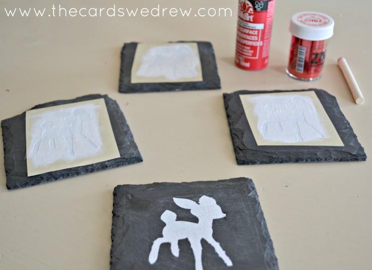 stencil the rudolph coasters