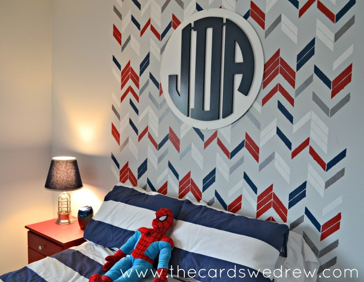 Boys Bedroom Makeover with Stenciled Headboard and Monogram from Southern Nest