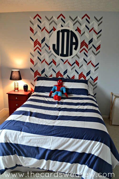 Boys Bedroom Makeover with Stenciled Headboard