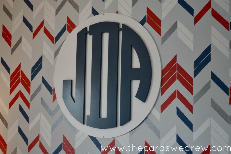 Boys Bedroom Makeover with Wall Monogram from Southern Nest