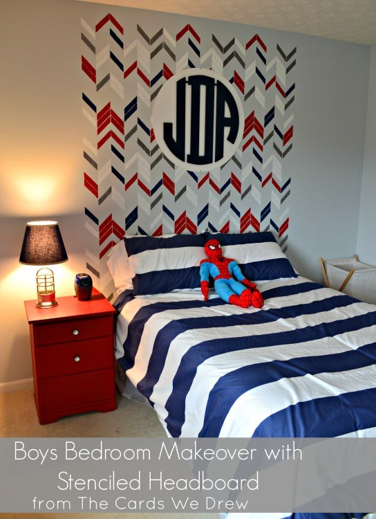 Boys Red, White and Blue Bedroom Makeover with Stenciled Headboard and Monogram from The Cards We Drew