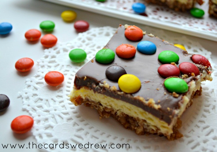 M&M Cheesecake Bars with Pretzel Crust