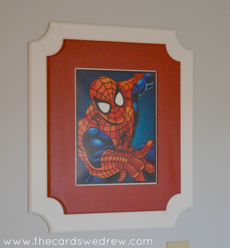framed spiderman print for boys bedroom