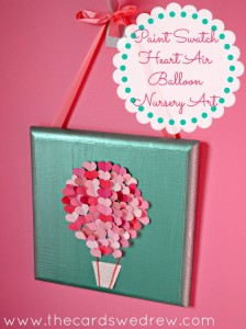 Paint Swatch Heart Air Balloon Nursery Art from The Cards We Drew