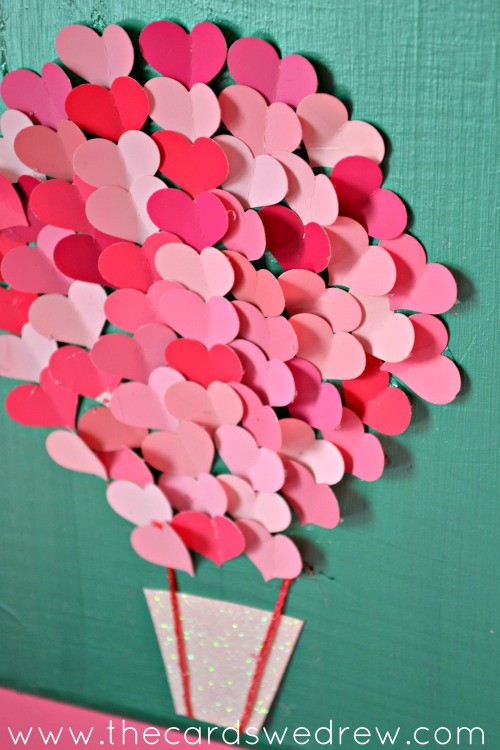 Paint swatch heart air balloon nursery art the cards we drew for Valentines day art and crafts for preschoolers