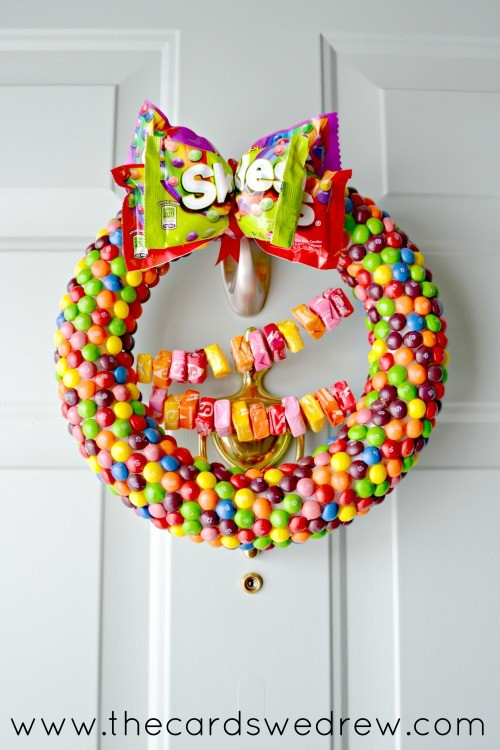Starburst and Skittles Front Door Candy Wreath