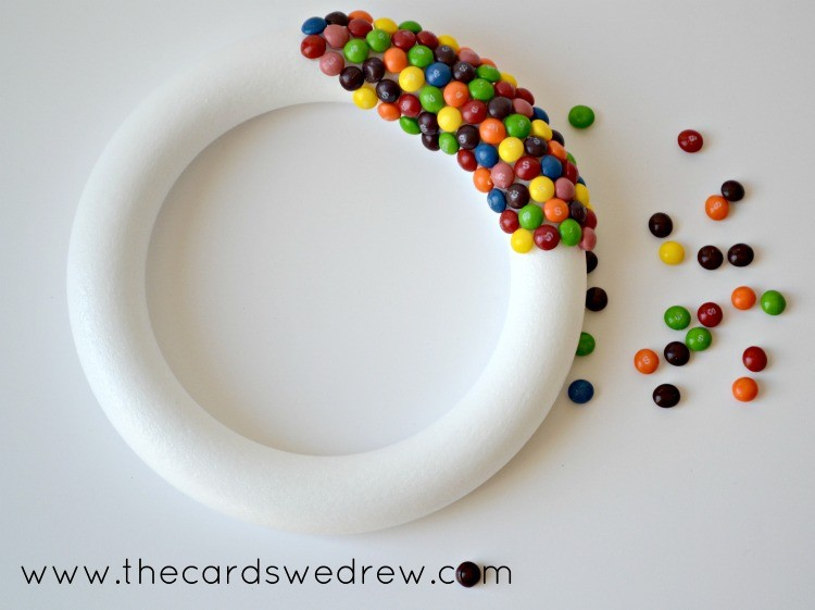 adding skittles to your wreath