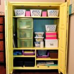Entertainment Center Turned Craft Storage from Crafting in the Rain