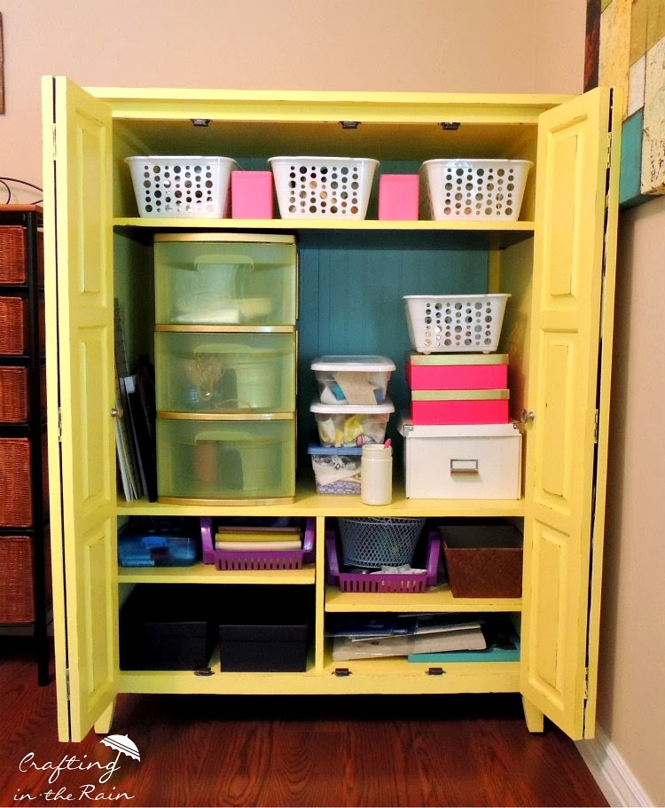 Entertainment Center Turned Craft Storage From Crafting In