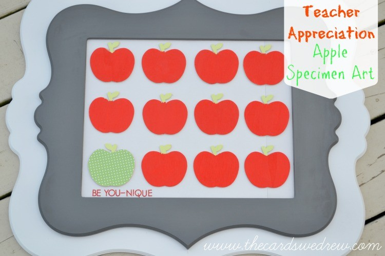 Teacher Appreciation Apple Specimen Art from The Cards We Drew