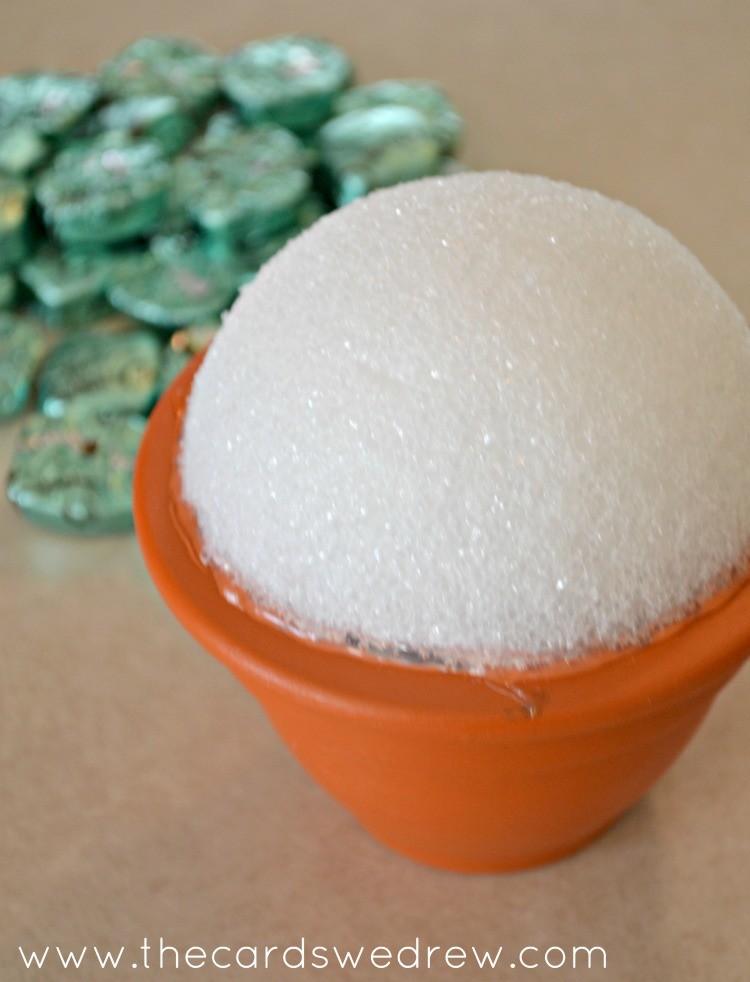 hot glue styrofoam onto pot
