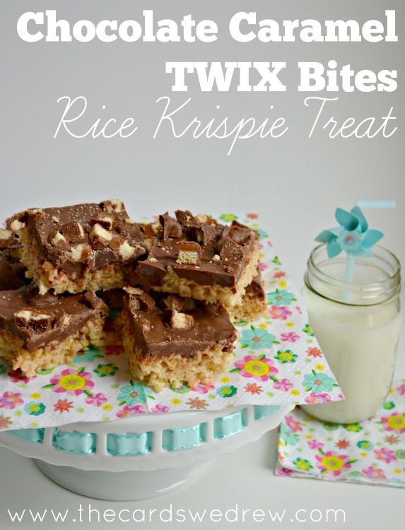 Chocolate Caramel TWIX Bites Rice Krispie Treat from The Cards We Drew #EatMoreBites #cbias