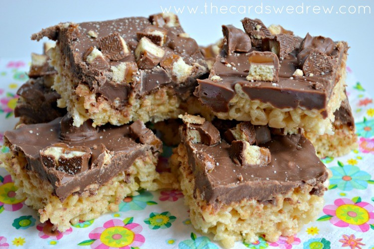 Chocolate covered TWIX Bite Rice Krispie treats from The Cards We Drew