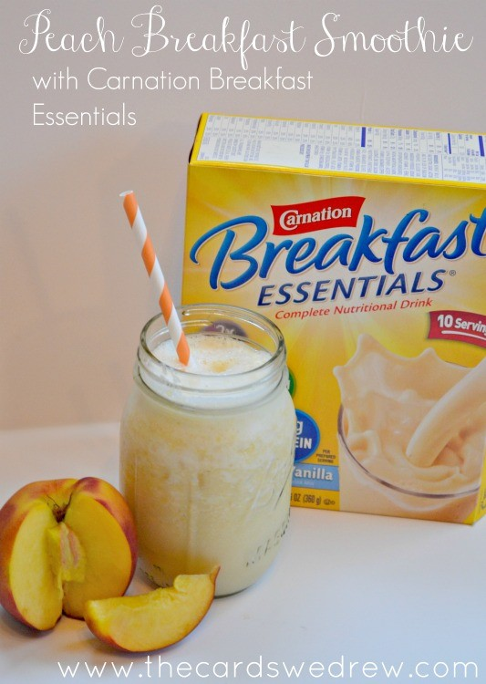 Peach Breakfast Smoothie with Carnation Breakfast Essentials #BreakfastEssentials from The Cards We Drew #PMedia #ad